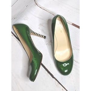 Kate Spade Green Patent Leather Striped heels